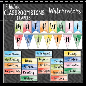 Watercolor Classroom Decor, Signs and Labels: Editable