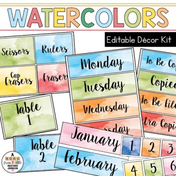 photo about Free Printable Classroom Signs and Labels identify Watercolor Clroom Decor, Indicators and Labels: Editable
