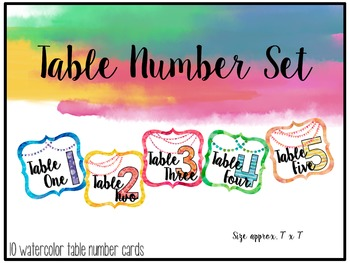 Watercolor Classroom Decor {Table Numbers}
