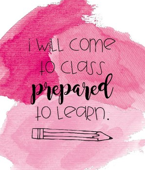 Watercolor Classroom Expectations I WILL Statements