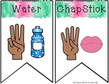 Watercolor Classroom Hand Signals Pennants