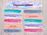 Watercolor Classroom Helpers Chart