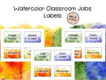 Watercolor Classroom Job Freebie
