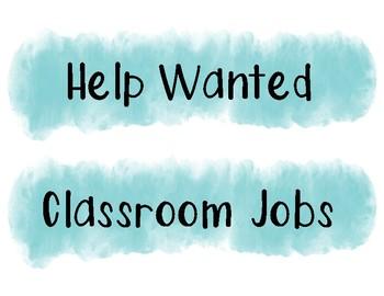Watercolor Classroom Jobs