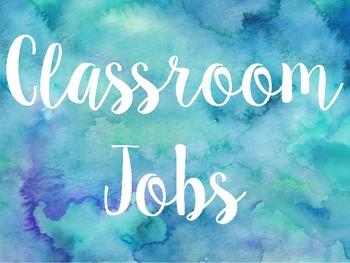 Watercolor Classroom Jobs Sign