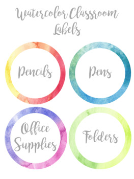 Watercolor Classroom Supply Labels