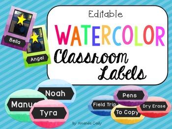 Watercolor Classroom Labels- Editable!