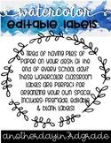Watercolor Classroom Labels Editable FREEBIE