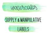 Watercolor Classroom Labels for Classroom Supplies & Manipulatives (Green)