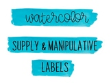 Watercolor Classroom Labels for Supplies & Manipulative (Aqua)