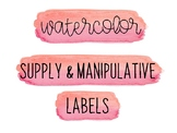 Watercolor Classroom Labels for Supplies & Manipulatives (Pink)