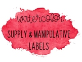 Watercolor Classroom Labels for Supplies & Manipulatives (Red)