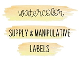 Watercolor Classroom Labels for Supplies & Manipulatives (Yellow )