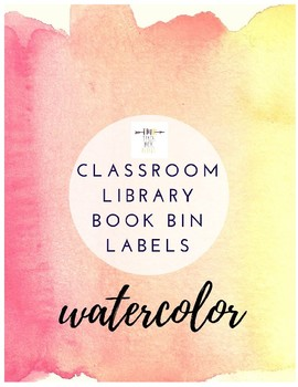 Watercolor Classroom Library Bin  Labels