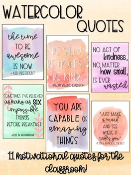 Classroom Quotes Watercolor Classroom Quotes by The Dancing Teacher | TpT Classroom Quotes