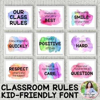 Watercolor Classroom Rules Posters {Realistic Watercolor, Kid-Friendly Font}