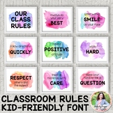 Watercolor Classroom Rules Posters {Realistic Watercolor,