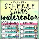 Daily Schedule Cards Watercolor Decor Theme