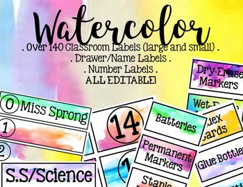 Watercolor Classroom/Supply Labels - EDITABLE