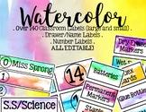 Watercolor Classroom/Supply Labels - EDITABLE