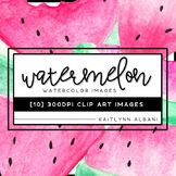 Watercolor Clip Art - 10 Tropical Watermelon Images (FREE)