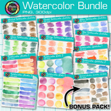 Watercolor Clip Art Bundle {Hand-Painted Strokes, Splotche