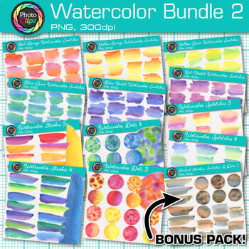 Watercolor Clip Art Bundle {Hand-Painted Strokes, Splotches, and Dot Textures} 2
