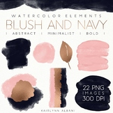 Watercolor Clip Art Design Elements - Blush and Navy