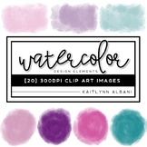 Watercolor Clip Art - Design Elements - Pinks and Teal
