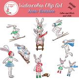 Watercolor Clip Art Snow Bunnies