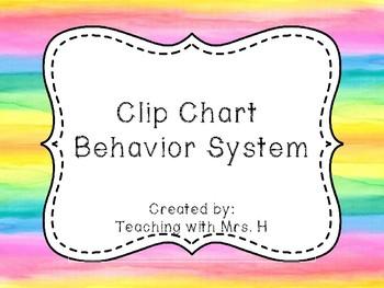 Bright Watercolor Behavior Clip Chart