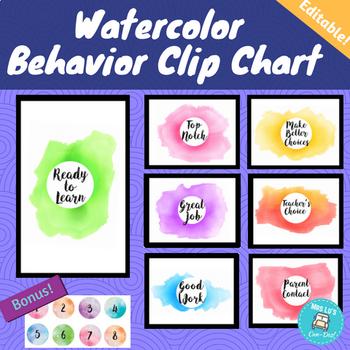 Watercolor Theme Behavior Clip Chart