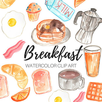 Watercolor Clipart - Breakfast Clipart - Personal and Commercial Use