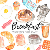 Watercolor Clipart - Breakfast Clipart - Personal and Comm