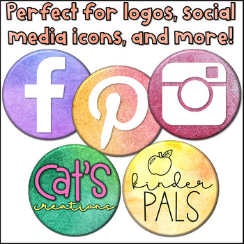 Watercolor Clipart- Buttons for Logos and Social Media Icons
