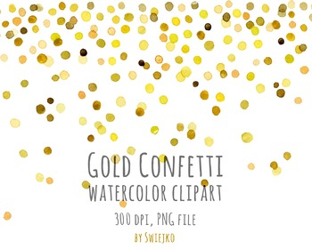 watercolor clipart digital confetti printable new year christmas gold