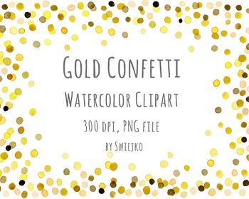 Watercolor Clipart, Digital Confetti, Printable, New Year, Christmas, Gold