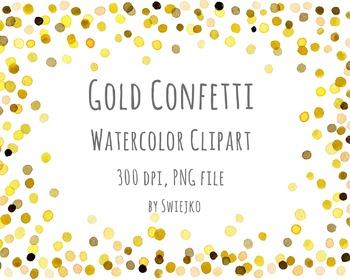 Watercolor Clipart, Digital Confetti, Printable, New Year,