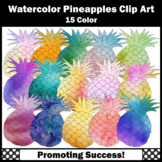 Watercolor Clipart, Pineapples Clip Art