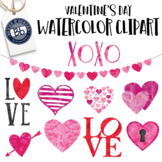 Watercolor Clipart : Valentine's Day Hearts and Love