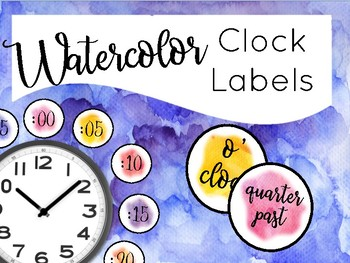 Watercolor Clock Labels