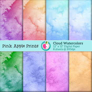 Watercolor Clouds Style Digital Paper Texture Set - Graphics for Teachers