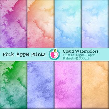 Watercolor Clouds Style Digital Paper Texture Set - Graphics for Teachers