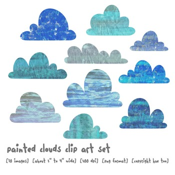 Watercolor Clouds Clip Art, Blue Gray Cloud Images, Weather, Preschool