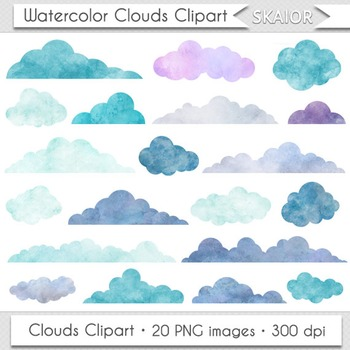 Watercolor Clouds Clip Art Digital Clouds Clipart Scrapbooking Baby Shower