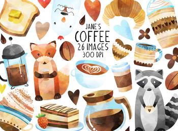 Watercolor Coffee Clipart