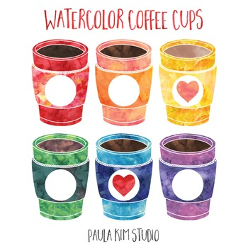 Watercolor Coffee Cups FREE Clip Art