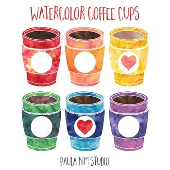 Watercolor Coffee Cups FREE Clip Art