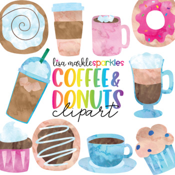 Watercolor Coffee and Doughnut Clipart