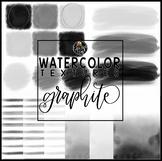 Watercolor Textures - Graphite - Clipart Set {Educlips Clipart}